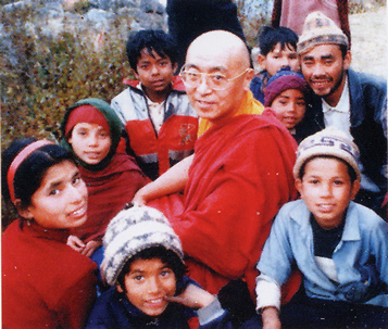 Refugee children with Rinpoche